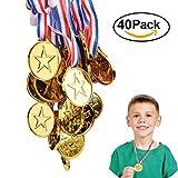 Tomkity 40 Pezzi Medaglie Oro Plastica per Regalino Festa Compleanno Concorrenza Ricompensa (40 pezzi)