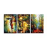 Impresión romántica 3 Paneles Abstracta en poliéster Acuarela Pintura al óleo Moderna del Arte de la Pared...