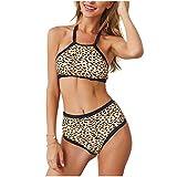 Costume da Bagno Donna Sexy V Profonda Bikini Imbottito Swimsuit Halter Brasiliano Cute Beachwear Due Pezzi Mare E Piscina,Leopardprint,S