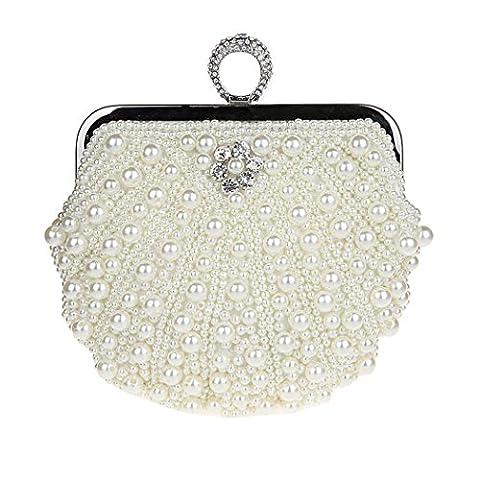 KAXIDY Damen Vintage Samen-Perlen Abendtasche Hochzeit Bead-hand-knit Abschlussball Party-Abend Handtasche