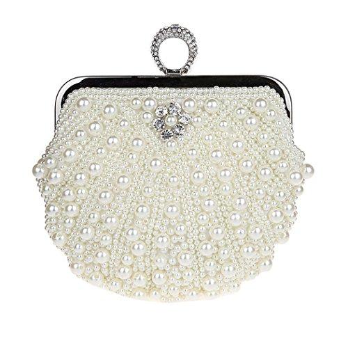 KAXIDY Damen Vintage Samen-Perlen Abendtasche Hochzeit Bead-hand-knit Abschlussball Party-Abend Handtasche (Weiß) (Clutch Buckle Abendtasche)