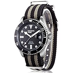 Men Sport Casual Watch with Black Dial Luminous Hands Black and Gray Nylon Strap