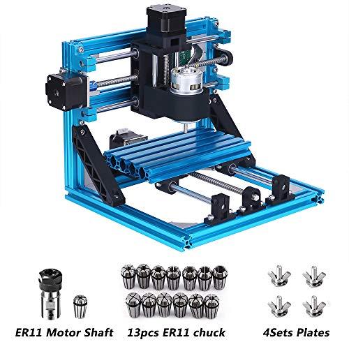 CNC Fräsmaschine mit 5mm ER11 und Motorwelle Spannzange, Arbeitsbereich: 160 * 100 * 45mm, DIY CNC Router Maschine 3 Achsen Mini Holz PCB Acryl Fräsmaschine + 13pcs ER11 Spannzangen + 10pcs CNC bits