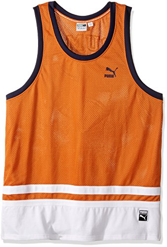 Reversible Woven Shirt (Puma Men's Bball Jersey, Burnt Orange, X-Large)