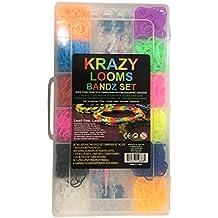 KRAZY LOOMS Kit COMPLETO Máquina de tejer para FABRICAR tus propias pulseras, anillos y collares - 2000 gomillas sin látex y 50 clips de cierre en forma de S