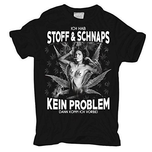 Männer und Herren T-Shirt Stoff & Schnaps Schwarz