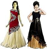 #5: Market Magic World Girl's Black & Black Velvet, Net Semi Stitched Combo Pack lehenga Choli, Salwar Suit, Gown (Kids Wear_Free Size_8-12 Year age)