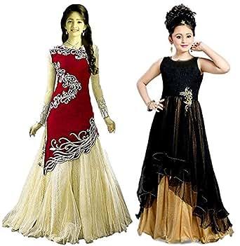 Market Magic World Girl's Black & Black Velvet, Net Semi Stitched Combo Pack lehenga Choli, Salwar Suit, Gown (Kids Wear_Free Size_8-12 Year age)