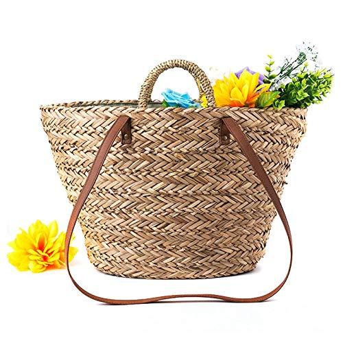 onemoret Stroh Tasche Qualität Craft Papier Urlaub Weben Summer Vacation Handtasche Beach Bag Fashion Freizeit