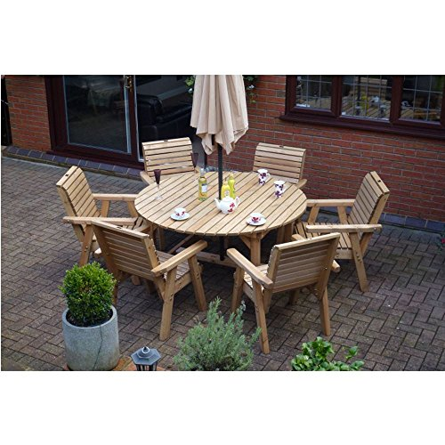 Wooden Garden Furniture Round Table & 6 High Back Chairs Round Top Patio Set