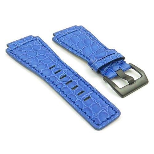 strapsco blau Alligator-Leder Band Uhrenarmband für Bell & Ross W/matt schwarz Schnalle 24mm