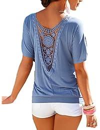 Smile YKK mujeres manga corta sueltos hueca Patchwork T Shirt verano Top