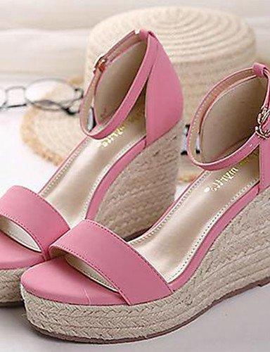 WSS 2016 Chaussures Femme-Décontracté-Noir / Rose-Talon Compensé-Compensées-Talons-Cuir pink-us5.5 / eu36 / uk3.5 / cn35