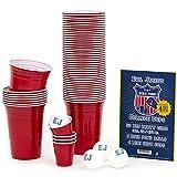 Evil Jared Hasselhoff EVIL JARED's College Cups | 50 Rote Becher (480ml) + 4 Ping Pong Bälle für Beer Pong | Inkl. 4 Mini Shot Cups und Spielregeln | Red Cups College Partybecher