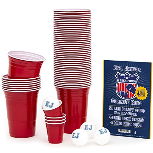 Evil Jared Hasselhoff College Red Cups | Beer-Pong Party-Zubehör Set | 50 Rote Party-Becher (480ml) + 4 Ping Pong Bälle | Inkl. 4 Mini Shot Cups und Spielregeln (Bier Ping-pong-tisch)