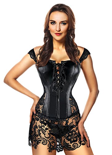 dcbaf149587 Kimring Women s Steampunk Gothic Faux Leather Bustier Corset with ...