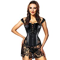 Kimring Women's Steampunk Gothic Faux Leather Bustier Corset with Lace