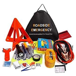 Sailnovo Auto Emergency Kit, Multifunktionale Pannenwerkzeugsets Verbandkasten für Auto - 76 in 1 Auto Notfall Werkzeugset / Pannenhilfe Set / Sicherheit Kit mit Warndreieck, Erste Hilfe Kasten, etc.