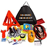 Auto Emergency Kit Multifunctional Roadside Assistance 24-In-1 Car Emergency Kit with Jumper Cable Tool Bag and Breakdown Tool Pocket Torch Safety Vest Towing Cable Tyre Pressure Gauge Safety Hammer, etc.