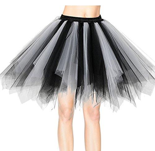 Flying Rabbit Mujeres 50s Retro Organza Underskirt Falda Rockabilly Miriñaques Tutú Danza Petticoat, Negro-blanco, Un tamaño