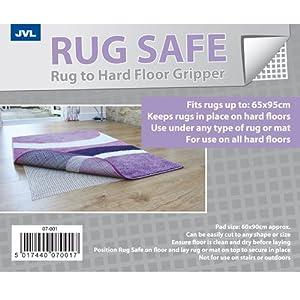 JVL Safe Hard Floor Gripper Rug, 120 x 180 cm