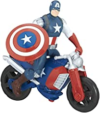 Marvel Avengers 6 Inch Deluxe Figure Captain America with Motorcycle (Multi Color)