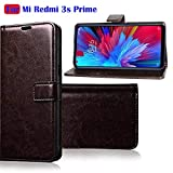 Fengshui Vintage Flip Cover Leather Case : Inner TPU, Leather Wallet Stand for Mi Redmi 3s Prime - Exclutive Coffee Brown