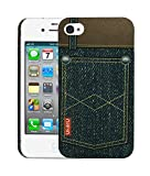 Heartly Jeans Style Printed Design High Quality Hard Bumper Back Case Cover For Apple iPhone 4 4S 4G - 2 Button Pocket