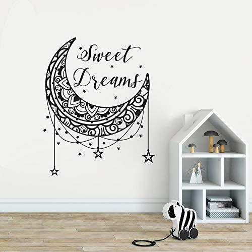 yaoxingfu Sweet Dreams Wandtattoo Sterne und Mond Kinderzimmer Dekor Sweet Dreams ZitateWandaufkleberKinderzimmer Dekoration Tapete Ay57x70cm - Eiche Tastatur