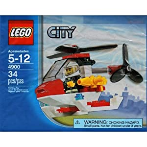 LEGO City Mini Figure Set 4900 Fire Helicopter - Bagged (34 pieces) by LEGO 0673419164238 LEGO