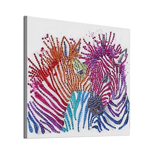 5D Diamond Painting Set Full Kits Handwerk Stickerei Kreuzstich,5D DIY Diamant Malerei,Malen nach Zahlen,Crystal Strass Verzierungen, Kunst,Handwerk,Leinwand,Wanddekoration,Ohne Rahmen (Zebra) -