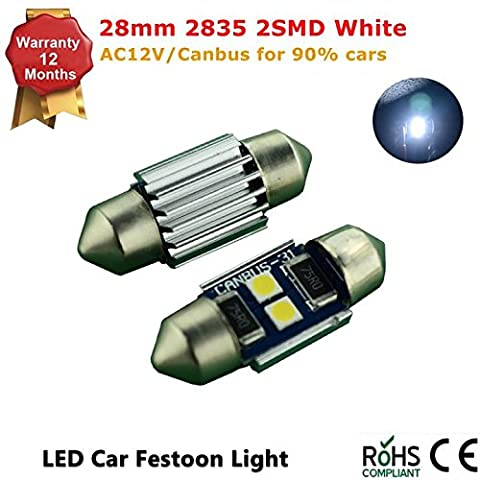 White 28mm 2-SMD 2835 LED AC 12V Festoon Dome Light LED Bulbs - Package of 2PCS