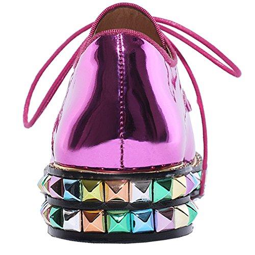 ENMAYER Femmes Nouvelle semelle en caoutchouc bout rond en cuir verni Rivets Talons bas Chaussures à lacets décontractées Violet clair