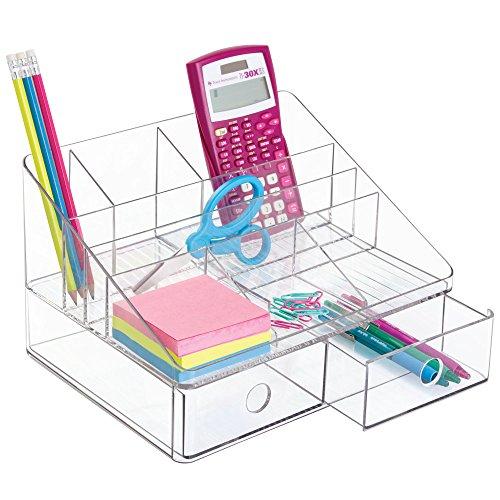 mDesign Organizador de escritorio con 2 cajones para guardar artículos de papelería – Organizador de oficina – Clasificador de plástico con 8 compartimentos, incluido portalápices – transparente