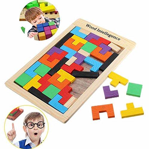 ZREAL Kinder Holzpuzzles Spielzeug Bunte Tangram Gehirn Puzzle Bord Kind Baby Intellektuelle Pädagogisches Tetris Casual Spielzeug Metall-rätsel-würfel
