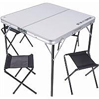Mesa Mesa Plegable 80x 80cm (aluminio con 4sillas taburetes Picnic de Camping, plegable a maletín, arredo práctico y moderno para exterior