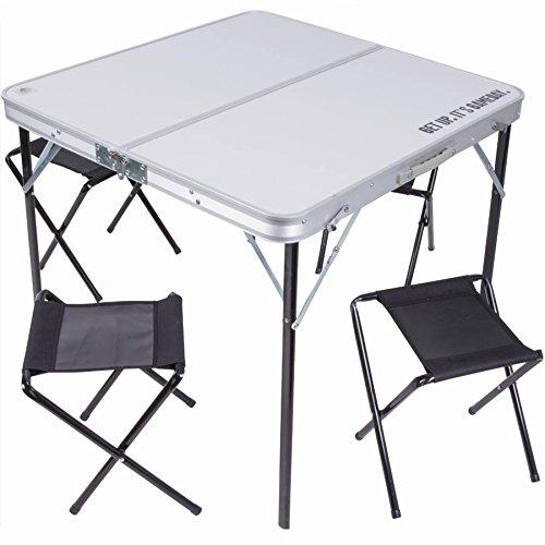 Tisch Klapptisch 80x 80cm in Aluminium mit 4Stühle Hocker Picknick Camping, zusammenklappbar, mit Koffer, Einrichtung praktisch und modern für Außen