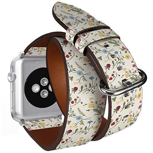compatibile con apple watch da 38 mm e 40 mm, doppio rotolo, cinturino in pelle con adattatori in acciaio inox (erbe aromatiche).