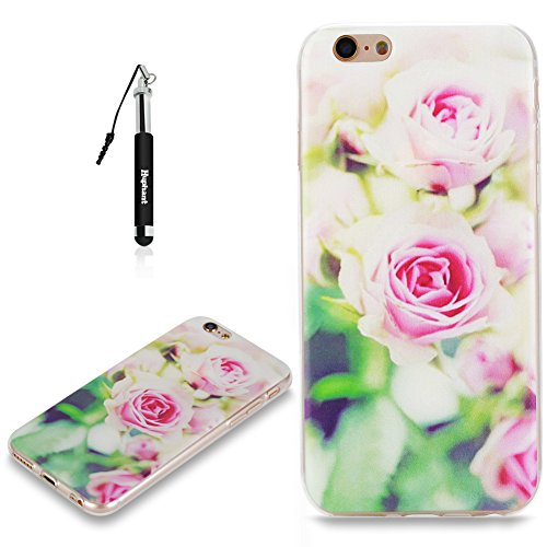Coque iPhone 6S Plus Case Silicone Rouge,Huphant Etui pour telephone avec TPU Silicone Cas iPhone 6 Plus Housse Crystal with Coque couleurs for iPhone 6S Plus Etui silicone TPU Flamant Fleurs Datura F Rose