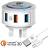 Quick Charge 3.0 usb wall plug adapter, 3 Port (QC3.0 + 2 USB) Uk Wall Plug Portable Adapter with Power QC 3.0 Suitable for Samsung Galaxy Note 8 S9 S9 Plus S8 S8+ C7pro C9pro/ LG V30 V20 G6 G5 / Google Pixel 2 /HTC U10 U11 U11+ U12+/Huawei P20 P20pro with Type C Fast Charging Cable(white)
