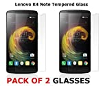 M.G.R Pack of 2 Tempered Glass Screen Guard for Lenovo Vibe K4 Note . 2 pack's (1*Wet + 1*Dry) Dust Removal Cleaning Cloth Wipes Papers for Mobile phone's .