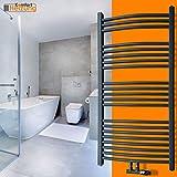 Badheizkörper Handtuchwärmer 1800x500mm Mittelanschluss anthrazit gebogen