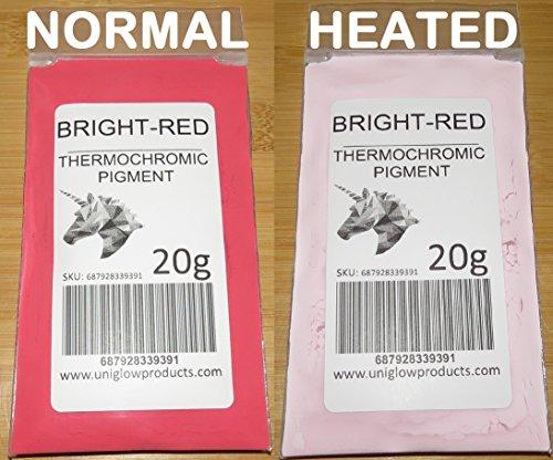 20g thermochromes, temperatur-aktiviertes Pigment–mehrere Farben–wärmeempfindliche Farbwechsel, Puder für Farbe, Nagellack, Tinte, Siebdruck, Stoff-Art, Keramik und mehr hellrot