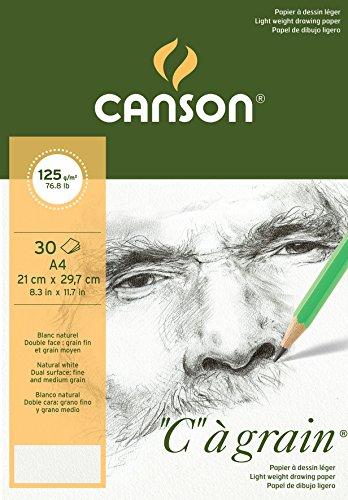 Canson 'C grano' papel de dibujo 400060605 Bloque 30 hojas 125g Grano Fino A4 Natural Blanco