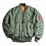 Alpha Industries Bomber-Kult-Wende-Jacke MA-1 aus Flight-Nylon original schwarz sage-green Innen-Futter-orange starke Strickbündchen Aussen-Innen-Taschen original, Farbe:sage green;Größe:M