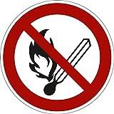 Verbotszeichen Aufkleber, Feuer, offenes Licht und Rauchen verboten, PVC-Folie selbsklebend, SL 100 mm gemäß ASR A1.3/BGV A8