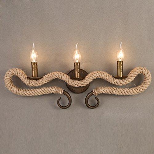 3 Kerze Wandleuchte (QQB Außenleuchte Vintage Wandleuchte Rustikale antike Messing Hängeleuchte Wandleuchte Twined Hanf Seile 3 Kerzen)