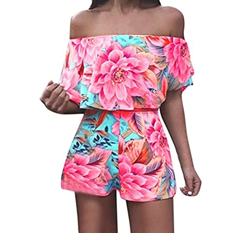 DAYLIN Women Off Shoulder Tops Shirt Two Piece Summer Bohemian Jumpsuit (XL)