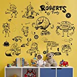 WandSticker4U- Wandtattoo coole ROBOTER Schwarz weiss   Wandbilder: 98x75 cm   Wandsticker Wand-aufkleber Poster Weltall UFO Space Raumschiff   Deko für Kinderzimmer Junge Babyzimmer Baby GROSS