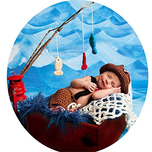 Allibuy-Photography Babyfotografie Kostüm Baby-Fischer-Art-Foto-Kappen-Baby-Fischer-Art-Fotografie-Set - Fischer Kostüm Für Kleinkind